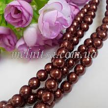 Жемчуг керамический, 8 мм, цвет коричневый,10 шт