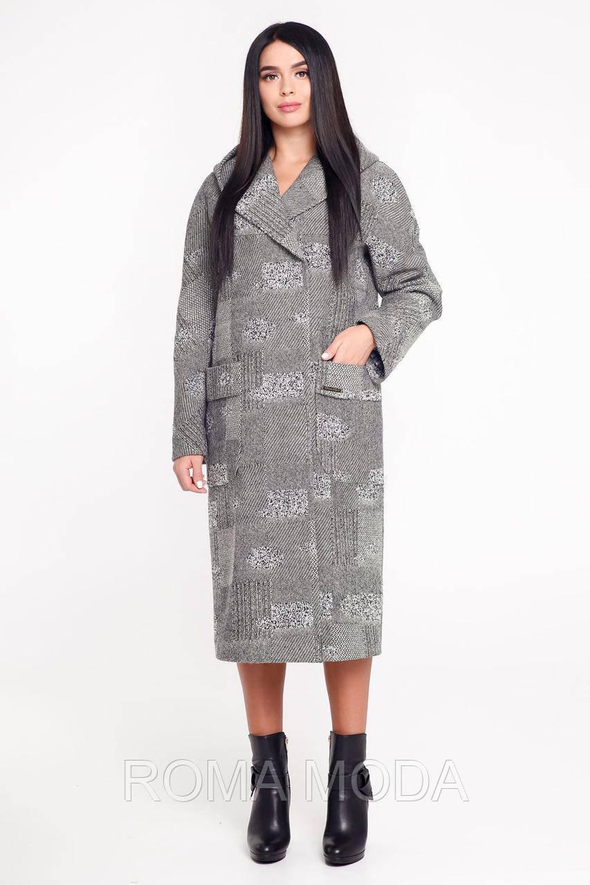 Стильное пальто женское с капюшоном В-1120 МО 13324