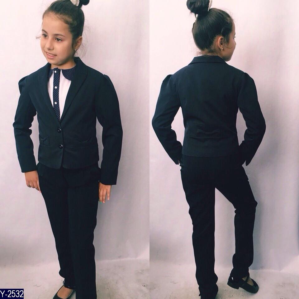Пиджак школьный для девочки 122, 128, 134 ткань, чёрная и синяя мадонна, серый тиар