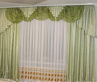 Готовые шторы с ламбрекеном Белла, оливковый