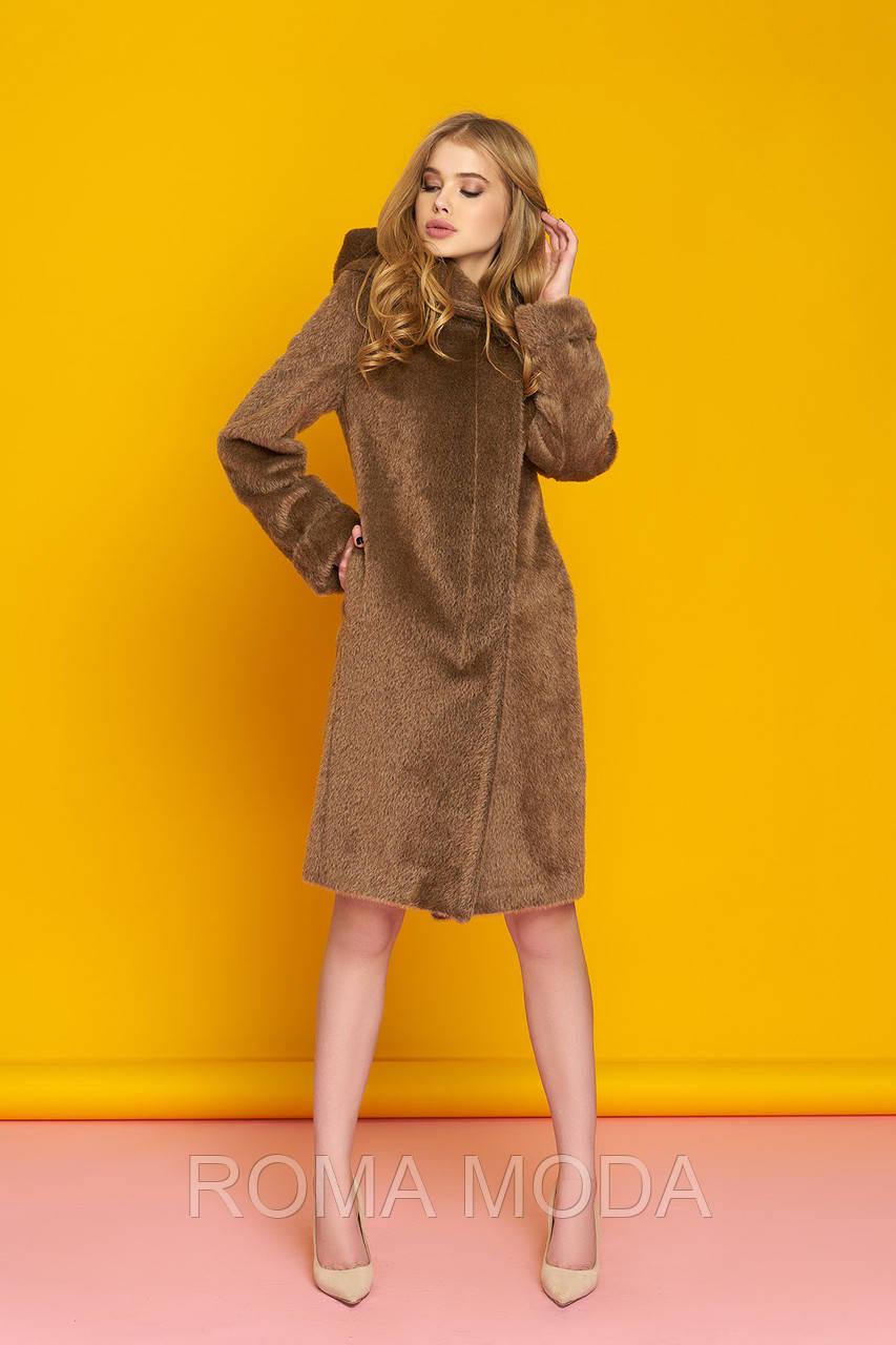 Модное пальто женское с капюшоном в 3х цветах Р-4 размеры 44-56