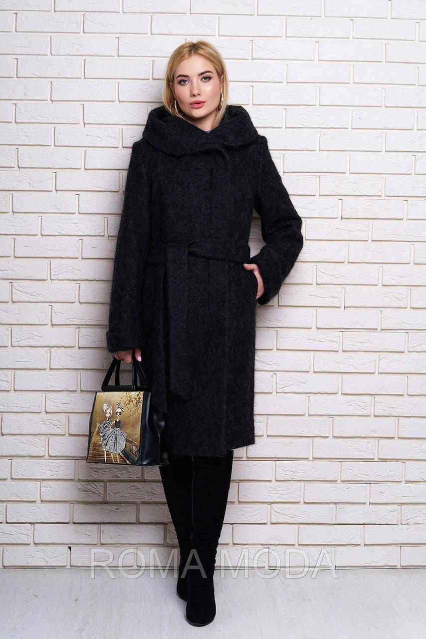 Красивое пальто женское с капюшоном Р-4/4 размеры 46-56