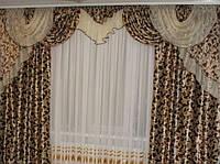Готовые шторы с ламбрекеном Анна, коричневый