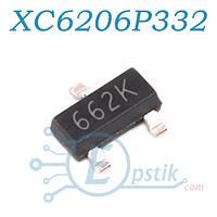XC6206P332MR (662K), стабилизатор напряжения, 3.3В 200мА, SOT23
