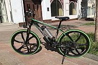 Элитный велосипед электрический PORSCHE BRAND BIKE CARBON с литими ободами мощность двигателя 500 ВТ Зеленый
