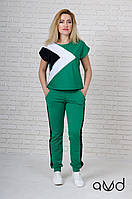 Женский летний яркий костюм с коротким рукавом зеленый 1845 AVD