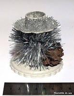 Новогодний подсвечник, 7 х 7 см. пластик, серебро.