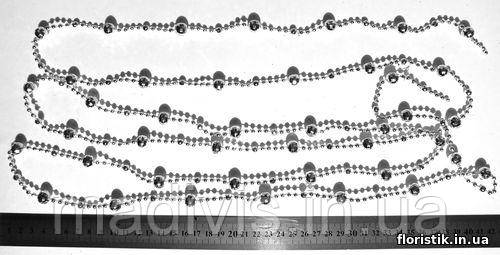Гирлянда граненых бусин металл серебро, 10 мм.