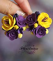 """Крупные серьги с цветами """"Солнечный фиолет"""". , фото 1"""