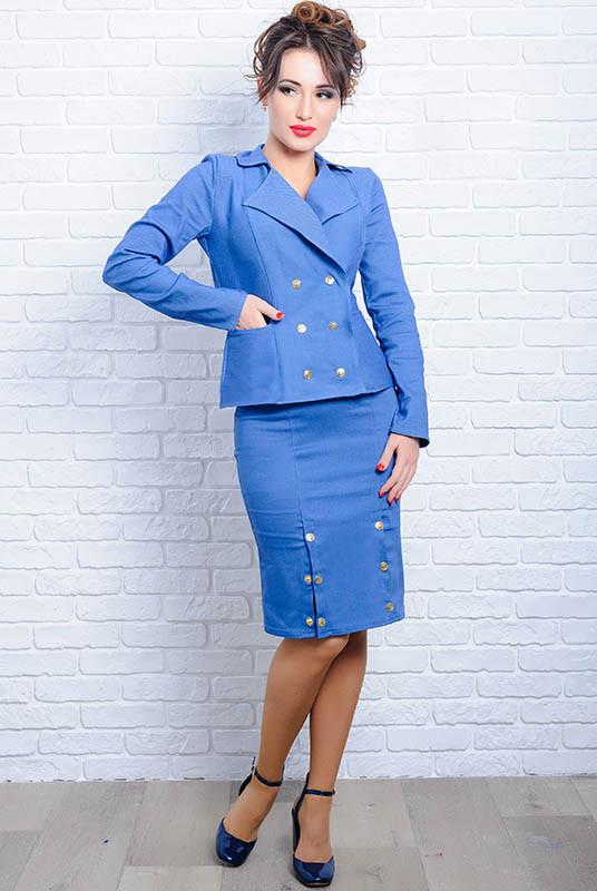 Джинсовые костюмы с юбкой *ЭЛЕГИЯ* голубой