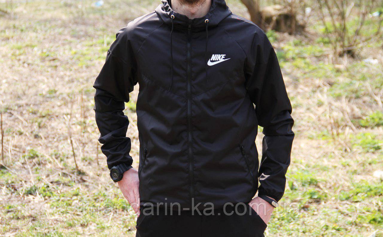 Мужская ветровка  анорак  Nike Найк черная (реплика)