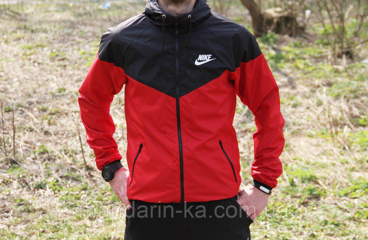 Мужская ветровка  анорак  Nike Найк черно-красная (реплика)