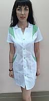Женский халат на кнопках короткий рукав с цветной отделкой модель Эрика 46, фисташка