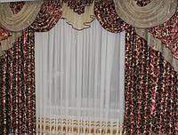 Готовые шторы с ламбрекеном Анна, малиновый