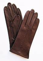 Перчатки демисезонные кожаные бордовые женские