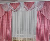 Готовые шторы с ламбрекеном Белла, розовый