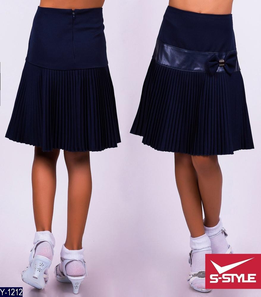 Юбка школьная Плиссе с завышенной талией 122, 128, 134, 140 ткань габардин