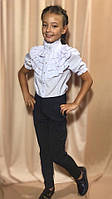 Детская белая блузка с рюшами для девочки