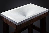 Бетонный умывальник с подставкой из дерева в лофт стиле мебель из бетона