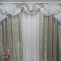 Готовые шторы с ламбрекеном Дана, серый