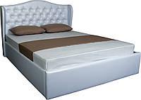 Большая белая двуспальная  кровать  с механизмом подъема Грация