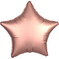 Фольгированный шар звезда сатин розовое золото 45 см (Anagram)