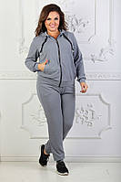 Женский спортивный костюм на змейке батал / люрекс / Украина 47-5129, фото 1