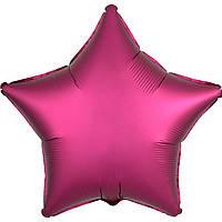 Фольгированный шар звезда сатин бургундий 45 см (Anagram)