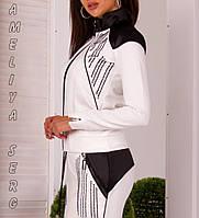 Стильный Турецкий прогулочный спортивный костюм женский на молнии молочный , фото 1