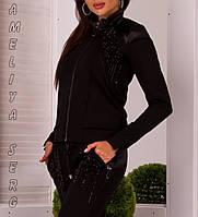 Стильный Турецкий прогулочный спортивный костюм женский на молнии  чёрный, фото 1