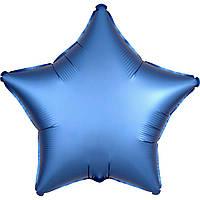 Фольгированный шар звезда сатин голубая 45 см (Anagram)