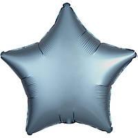 Фольгированный шар звезда сатин синяя сталь 45 см (Anagram)