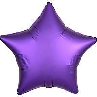 Фольгированный шар звезда сатин фиолетовая 45 см (Anagram)