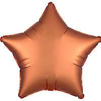 Фольгированный шар звезда сатин янтарная 45 см (Anagram)