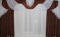 Готовые шторы с ламбрекеном Дана, шоколад
