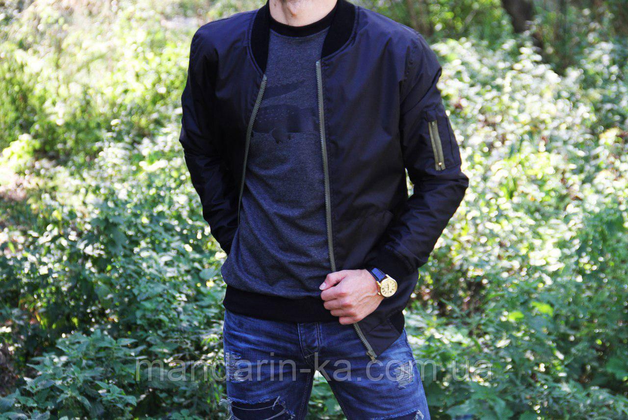 Мужская ветровка  бомбер куртка пилот  черная (реплика)