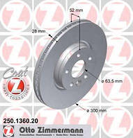 Тормозной диск ZIMMERMANN 250136020 на LAND ROVER LR2 (FA_)
