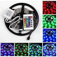 Светодиодная лента 3528 60 LED RGB 5 метров Полный комплект (блок управления, пульт ДУ, адаптер 220V), фото 1