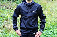 Мужская ветровка  анорак  Nike Найк черный (реплика)