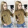 """Женская куртка из замши с нашивкой """"Moshino"""", в расцветках. ОС-9-0718, фото 2"""