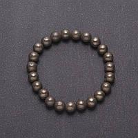 Браслет натуральный камень Пирит гладкий шарик d-8мм на резинке обхват 18см