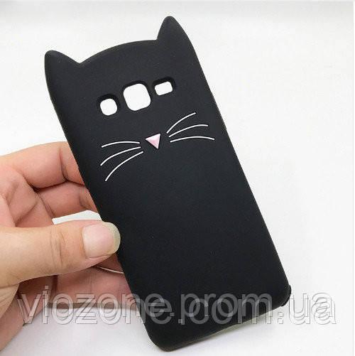 3d Чехол Бампер для Samsung Galaxy Grand Prime / G531 / G530 резиновый Чёрный Кот