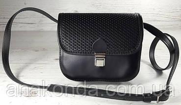 431 Натуральная кожа, Мини-сумочка кросс-боди женская, на замочке, без подкладки, черный, тиснение рогожка, фото 2