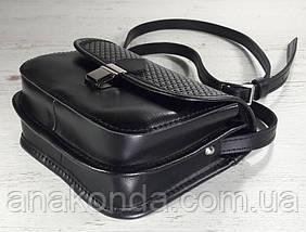 431 Натуральная кожа, Мини-сумочка кросс-боди женская, на замочке, без подкладки, черный, тиснение рогожка, фото 3