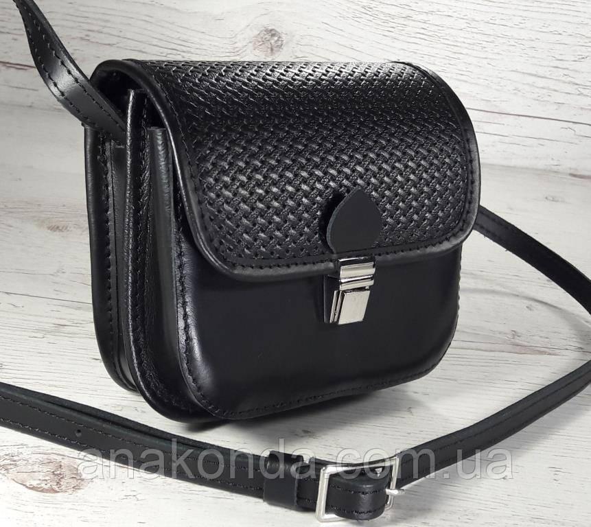 431 Натуральная кожа, Мини-сумочка кросс-боди женская, на замочке, без подкладки, черный, тиснение рогожка