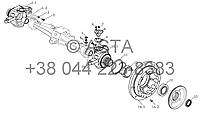 Передний мост в сборе - поворотный кулак, обод колеса (II) на YTO-X1004