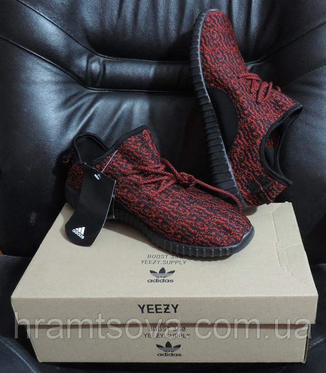 Кроссовки Adidas Yeezy Boost Red 350 (Адидас Изи Буст) Черно-красные, 36 размер