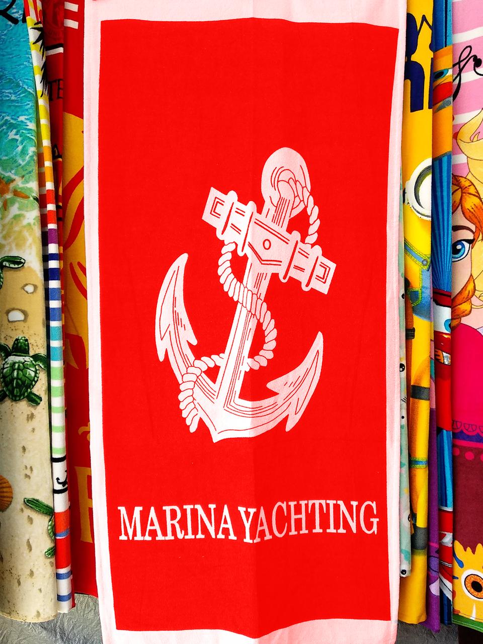 Полотенце пляжное красное MARINA YACHTING Якорь ANCHOR 150*75 см банное Турция