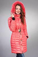 Зимняя женская молодежная куртка. Код К-52м-12-15. Цвет коралловый