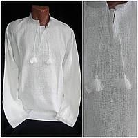 """Мужская рубаха с вышивкой """"Влад"""", выбеленный лен, белая вышивка, 42-56 р-ры, 880/750 (цена за 1 шт. + 130 гр.), фото 1"""